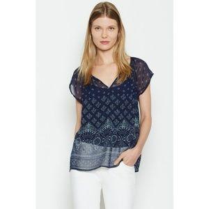 Joie Gilliane Navy Blue Silk Blouse